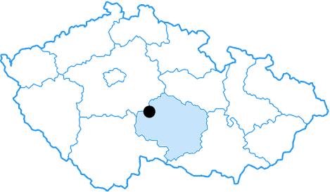Mapka České republiky s označením, kde se nachází Píšť.